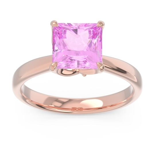 Pink Tourmaline Solitaire Princess Cut Lina Ring with Diamond in 14K Rose Gold