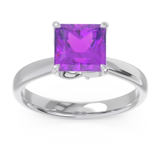Amethyst Solitaire Princess Cut Lina Ring with Diamond in Palladium