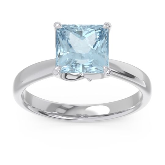 Solitaire Princess Cut Lina Aquamarine Ring with Diamond in 14k White Gold