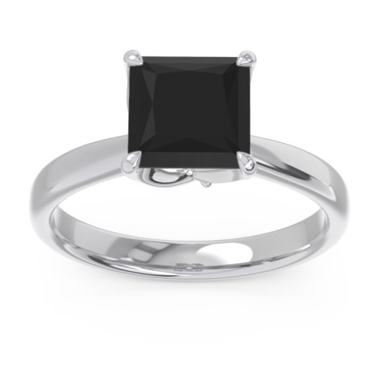 Black Onyx Solitaire Princess Cut Lina Ring with Diamond in 14k White Gold