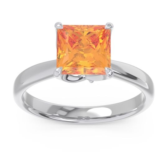 Solitaire Princess Cut Lina Citrine Ring with Diamond in 14k White Gold