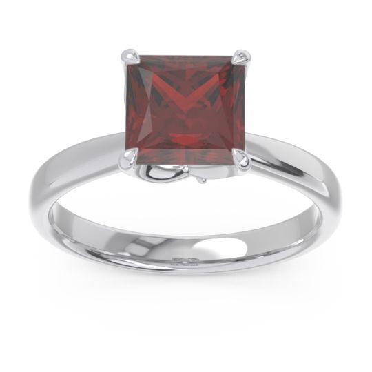 Garnet Solitaire Princess Cut Lina Ring with Aquamarine in Platinum