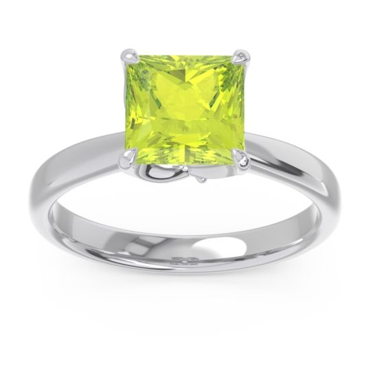 Peridot Solitaire Princess Cut Lina Ring with Diamond in 14k White Gold