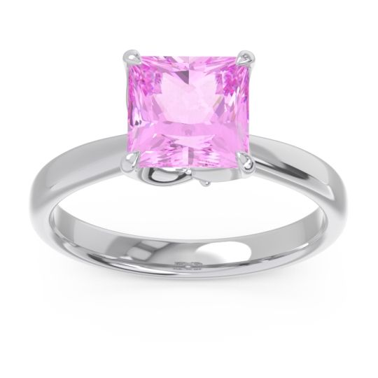 Pink Tourmaline Solitaire Princess Cut Lina Ring with Diamond in 14k White Gold
