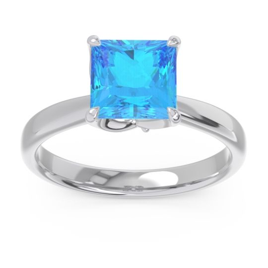 Swiss Blue Topaz Solitaire Princess Cut Lina Ring with Diamond in 14k White Gold