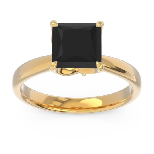 Black Onyx Solitaire Princess Cut Lina Ring with Diamond in 18k Yellow Gold