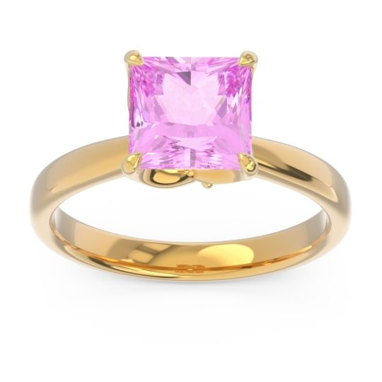 Pink Tourmaline Solitaire Princess Cut Lina Ring with Diamond in 14k Yellow Gold