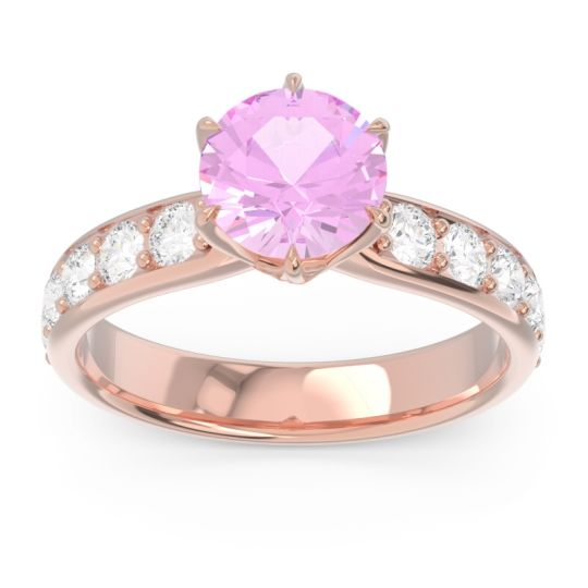 Pink Tourmaline Six Prong Pave Hara Ring with Diamond in 14K Rose Gold