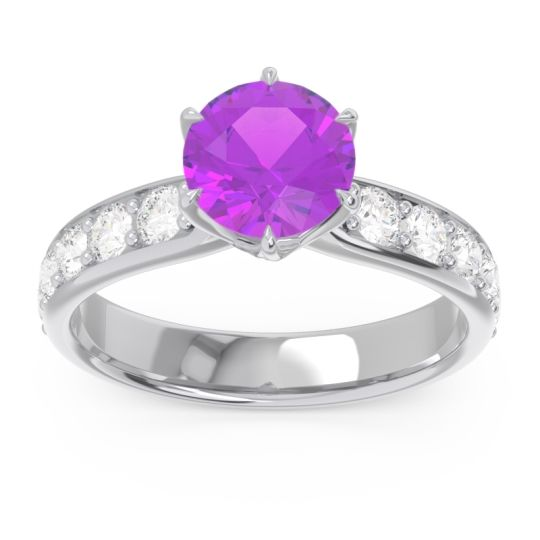 Amethyst Six Prong Pave Hara Ring with Diamond in 14k White Gold