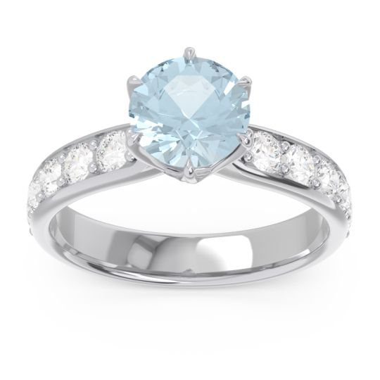Aquamarine Six Prong Pave Hara Ring with Diamond in 14k White Gold
