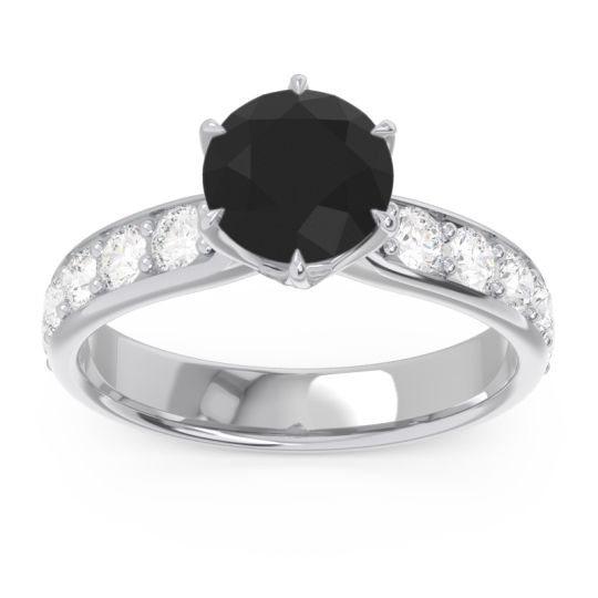 Black Onyx Six Prong Pave Hara Ring with Diamond in 14k White Gold