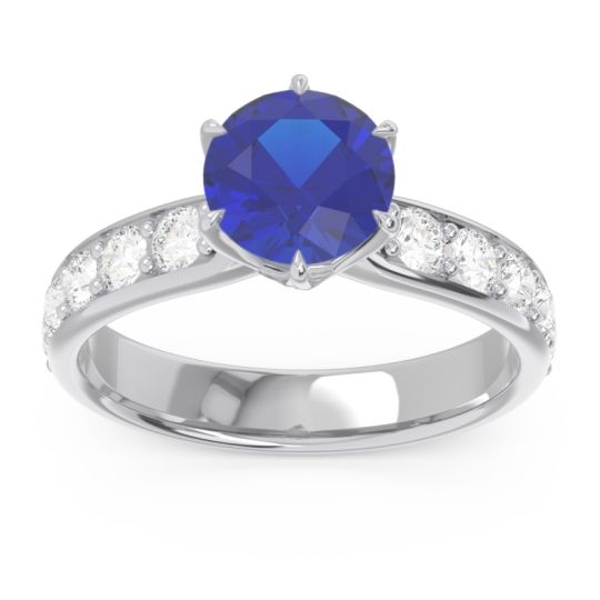 Blue Sapphire Six Prong Pave Hara Ring with Diamond in 14k White Gold