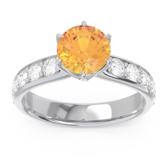 Six Prong Pave Hara Citrine Ring with Diamond in 14k White Gold