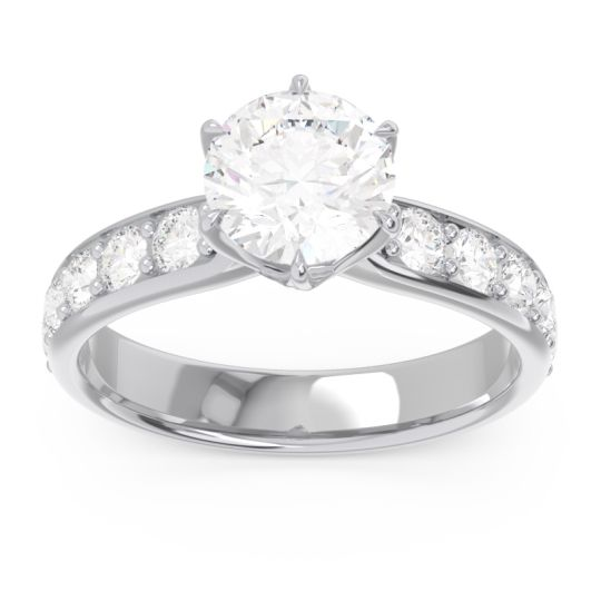 Diamond Six Prong Pave Hara Ring in 14k White Gold
