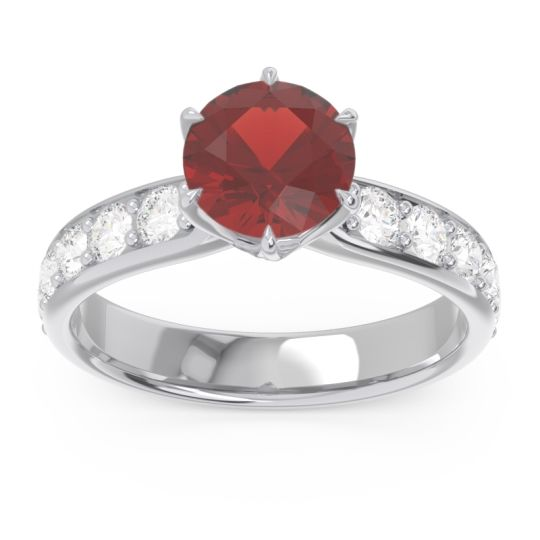 Garnet Six Prong Pave Hara Ring with Diamond in 14k White Gold