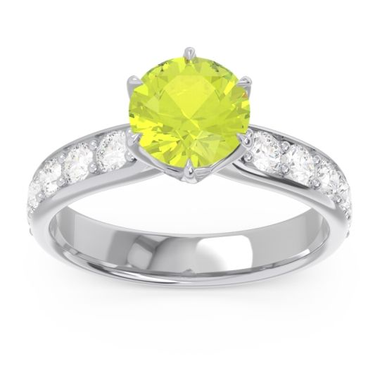 Peridot Six Prong Pave Hara Ring with Diamond in 14k White Gold