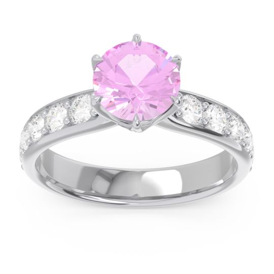 Pink Tourmaline Six Prong Pave Hara Ring with Diamond in 14k White Gold