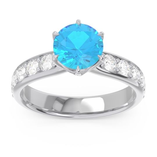 Swiss Blue Topaz Six Prong Pave Hara Ring with Diamond in 14k White Gold