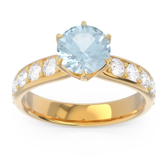 Aquamarine Six Prong Pave Hara Ring with Diamond in 18k Yellow Gold