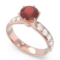Garnet Six Prong Pave Hara Ring with Diamond in 14K Rose Gold