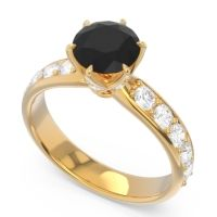 Black Onyx Six Prong Pave Hara Ring with Diamond in 18k Yellow Gold