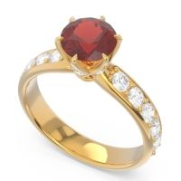 Garnet Six Prong Pave Hara Ring with Diamond in 14k Yellow Gold