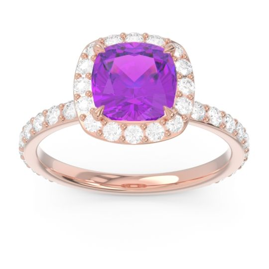Halo Pave Cushion Candra Amethyst Ring with Diamond in 18K Rose Gold