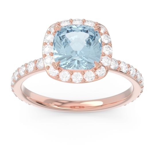 Halo Pave Cushion Candra Aquamarine Ring with Diamond in 14K Rose Gold