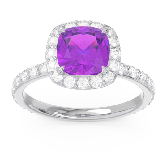 Halo Pave Cushion Candra Amethyst Ring with Diamond in 18k White Gold
