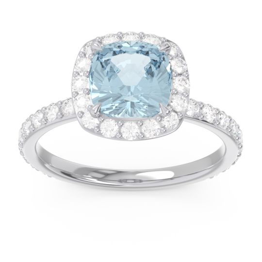 Halo Pave Cushion Candra Aquamarine Ring with Diamond in 14k White Gold