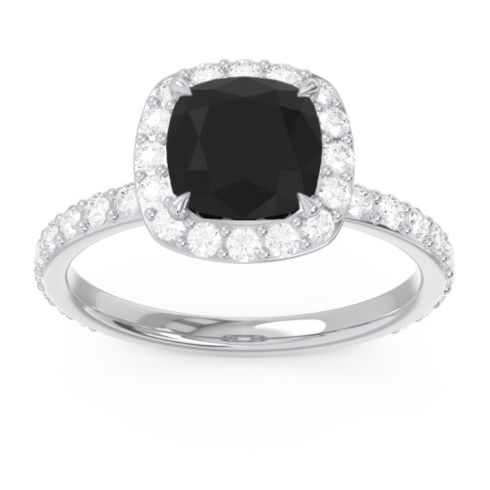 Black Onyx Halo Pave Cushion Candra Ring with Diamond in 14k White Gold