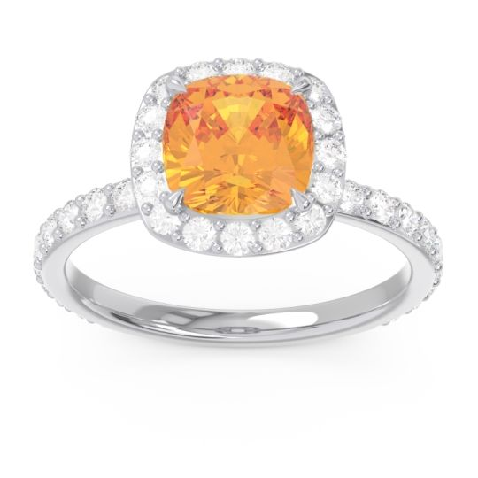 Citrine Halo Pave Cushion Candra Ring with Diamond in 14k White Gold
