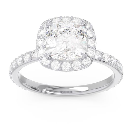 Halo Pave Cushion Candra Diamond Ring in 14k White Gold