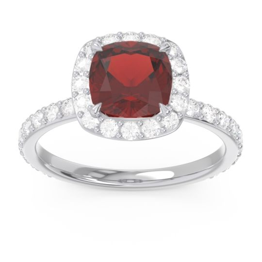 Halo Pave Cushion Candra Garnet Ring with Diamond in 14k White Gold
