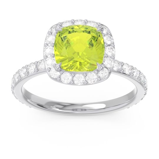 Peridot Halo Pave Cushion Candra Ring with Diamond in 14k White Gold