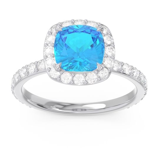 Swiss Blue Topaz Halo Pave Cushion Candra Ring with Diamond in 14k White Gold