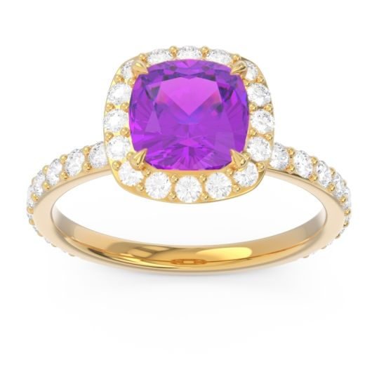Halo Pave Cushion Candra Amethyst Ring with Diamond in 14k Yellow Gold