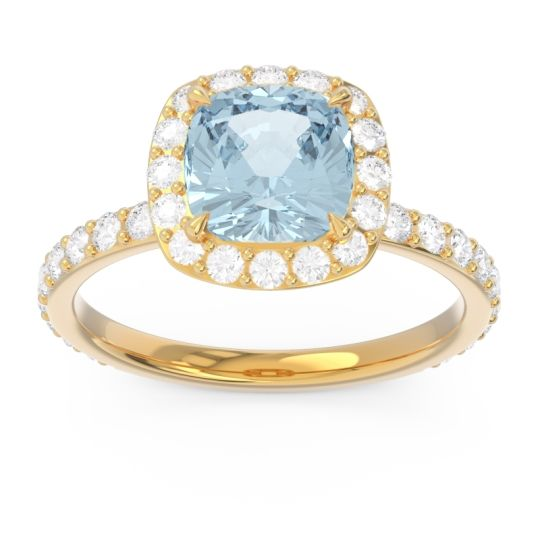 Halo Pave Cushion Candra Aquamarine Ring with Diamond in 14k Yellow Gold