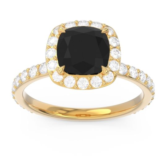 Halo Pave Cushion Candra Black Onyx Ring with Diamond in 18k Yellow Gold