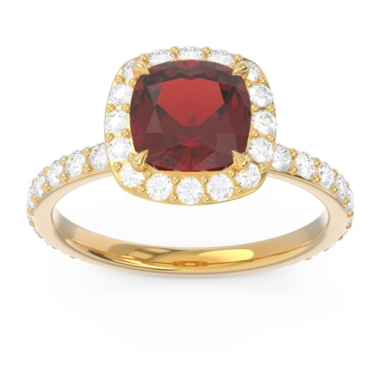 Garnet Halo Pave Cushion Candra Ring with Diamond in 14k Yellow Gold