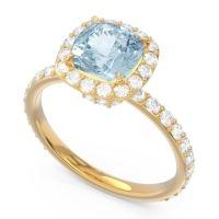 Aquamarine Halo Pave Cushion Candra Ring with Diamond in 18k Yellow Gold