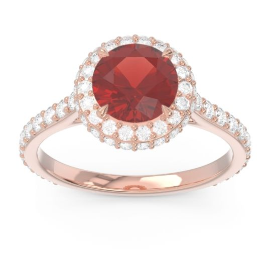 Garnet Halo Cathedral Pave Kataha Ring with Diamond in 14K Rose Gold