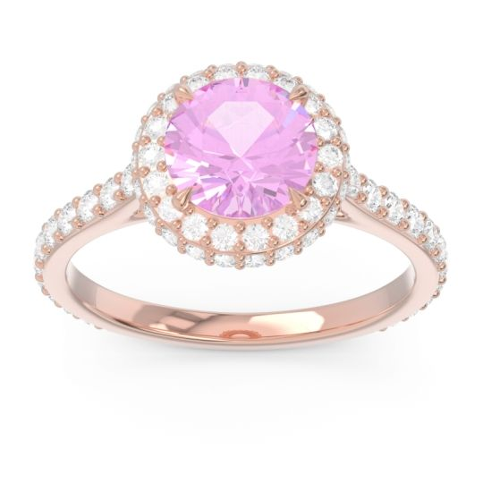 Pink Tourmaline Halo Cathedral Pave Kataha Ring with Diamond in 14K Rose Gold