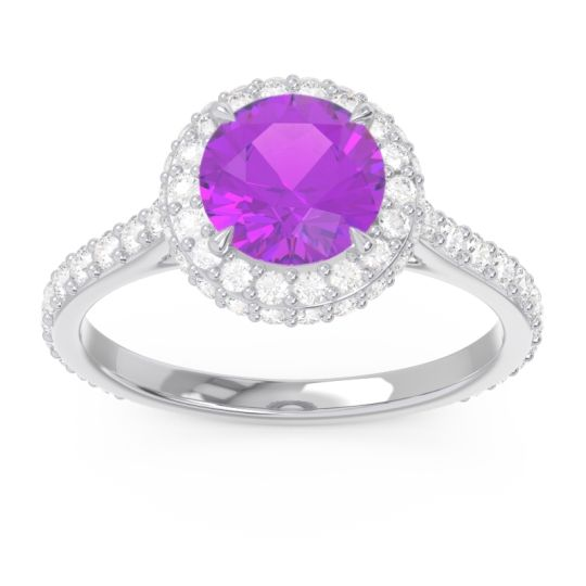 Amethyst Halo Cathedral Pave Kataha Ring with Diamond in 14k White Gold