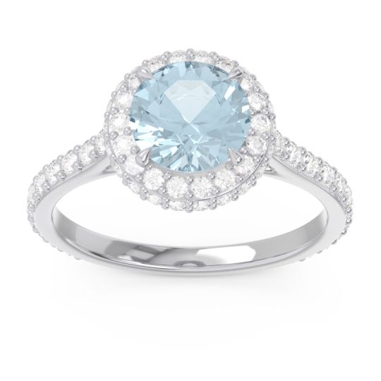 Aquamarine Halo Cathedral Pave Kataha Ring with Diamond in Palladium