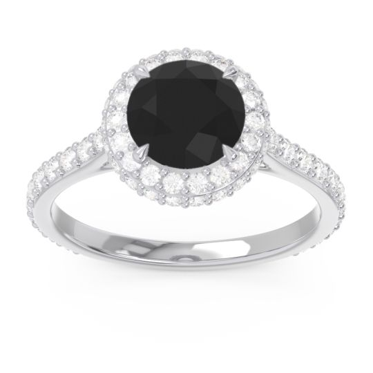 Black Onyx Halo Cathedral Pave Kataha Ring with Diamond in 14k White Gold
