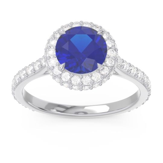 Halo Cathedral Pave Kataha Blue Sapphire Ring with Diamond in 14k White Gold