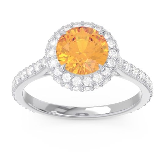 Halo Cathedral Pave Kataha Citrine Ring with Diamond in 14k White Gold