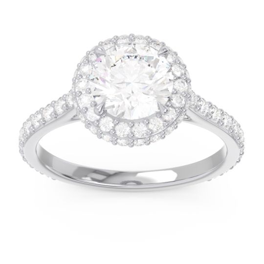 Diamond Halo Cathedral Pave Kataha Ring in 14k White Gold