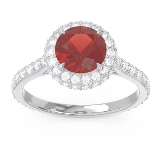 Garnet Halo Cathedral Pave Kataha Ring with Diamond in 14k White Gold